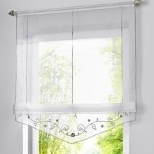 Short Curtain Drape-Panel-Screen Voile Tulle Embroidered Kitchen Door Window Flower Balcony