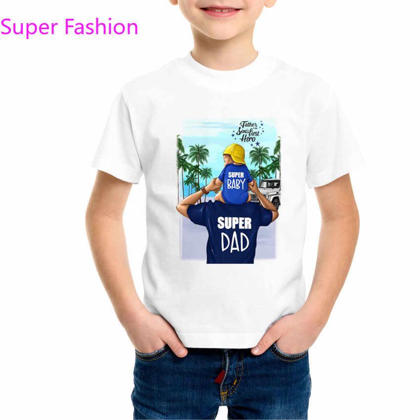 Super papá y bebé camiseta verano 2019 regalo del Día del Padre estilo del Padre y del Hijo camiseta hombres niños familia a juego camiseta, dHKP178A