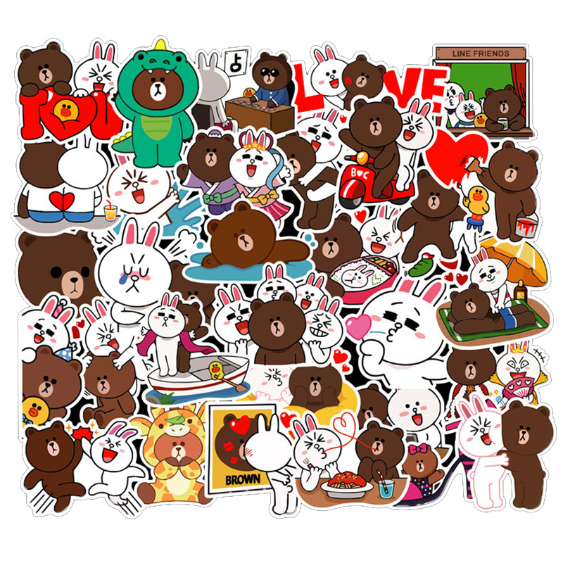 100 Pieces Line Town Cony And Brown Stickers For Scrapbooking Bullet Journal Laptop Fridge Car Cartoon Stickers Figure Toys