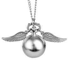 Карманные часы с шариком Snitch, Детские Кварцевые часы с ожерельем, милые часы с подвеской, часы с цепочкой для свитера, подарки на день рождения для мальчиков и девочек