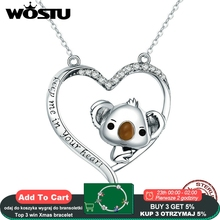 WOSTU גבוהה באיכות 925 סטרלינג כסף חמוד קואלה תליון שרשרת לנשים ילדה יפה תכשיטי מתנה לחברה CQN256