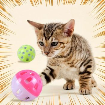 Funny Interactive Cat Toy With Bells Plastic Hollow Sounding Ball Chasing Training Toys Pat Supplies image