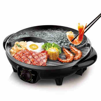 220V wielofunkcyjny garnek elektryczny nieprzywierający Grill pół gorący garnek pół Grill płyta grillowa multicooker 2 smak tanie i dobre opinie Vieruodis CE UE CN (pochodzenie) ryż ziarna Składane dno 220 v 1600W Metal