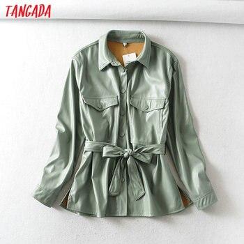 Tangada femmes vert clair faux cuir veste manteau avec ceinture dames à manches longues en vrac surdimensionné garçon ami manteau 6A125 1