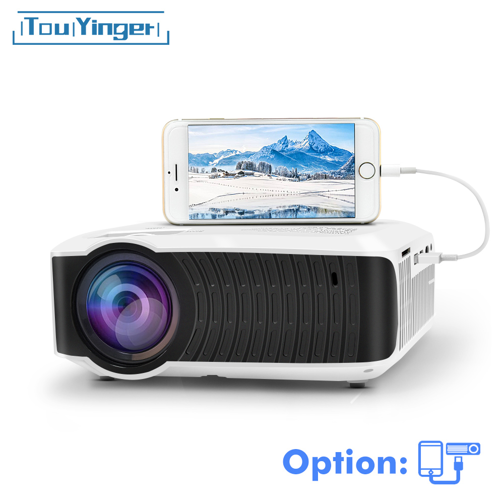 Touyinger t4 mini projetor led 1280x720 portátil beamer cinema em casa (opcional com fio sync display para iphone ipad telefone tablet)
