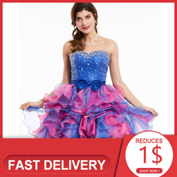 Dressv strapless cocktail dress royal blue sleeveless beaded bowknot above knee ball gown women party short dresses