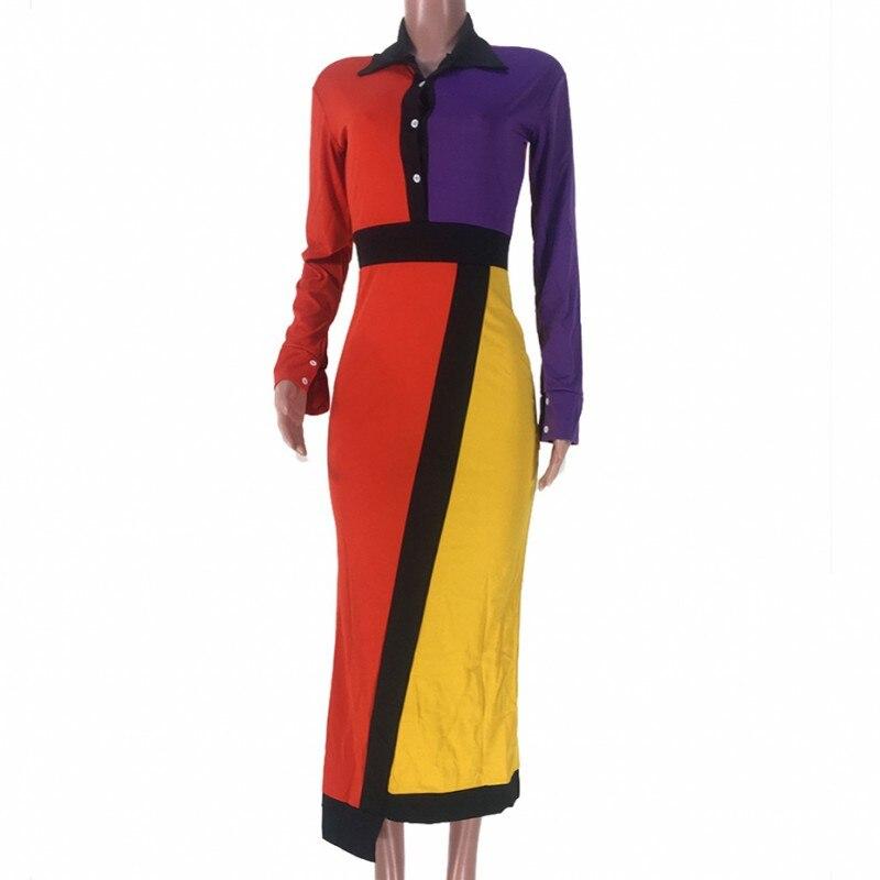 Colors Patchwork Maxi Dresses Women Turn Down Collar Full Sleeve Blouse Dress Fashion Autumn Irregular Elegant Office Lady Dress 7