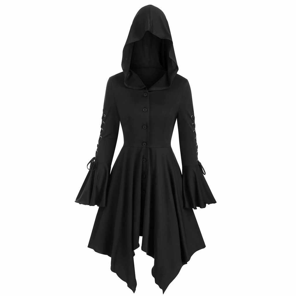 เสื้อผู้หญิง Hooded Tops LACE-Up เสื้อ Hem กระโปรง Gothic เสื้อผู้หญิงเสื้อลำลองและแจ็คเก็ต