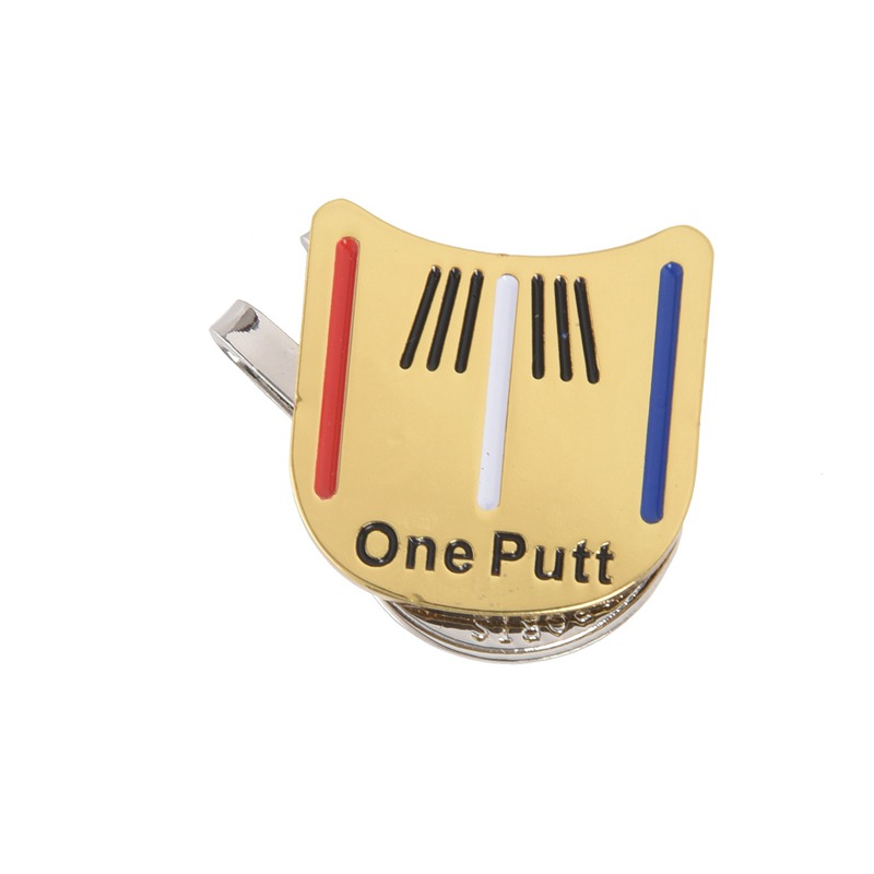 TOP!-Magnetic Cap Clip Removable Metal Golf One Putt Aiming Ball Marker Set Yellow