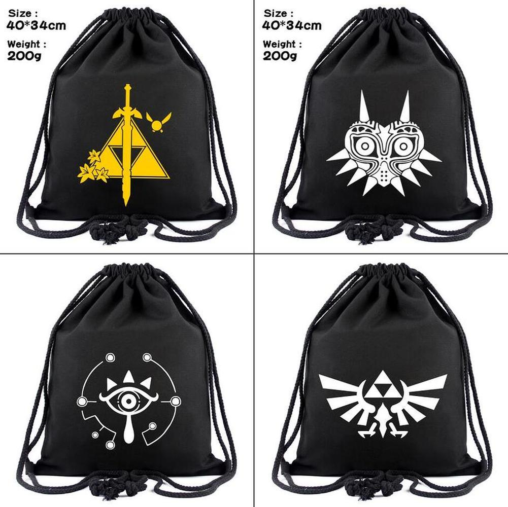 Game Legend Of Zelda Breath Of The Wild Canvas Drawstring Bag Backpack Women Cosmetic Container Casual Beach Bag Shoes Pouch