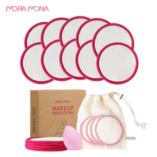 Bamboo Cotton Cleansing Washable Mora Facial-Pad-Tool Makeup-Removal Moan 10pcs/Pack
