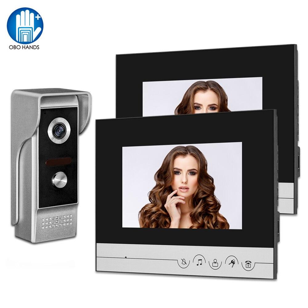 Nowy przewodowy wideodomofon System wideodomofon domofon 7 cal kolor ekran 700TVL wodoodporna kamera zewnętrzna dla domu