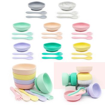 3 Pcs BPA Free Silicone Baby Suction Cup Base Bowl Plate Training Spoon Fork Set Non-Slip Learning Feeding Tableware Kids Sucker aag bendable baby silicone spoon fork set child learning training tableware bpa free baby spoon feeding tool assist for kids
