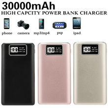 30000mAh Portable Power Bank External Battery LCD Screen Display Powerbank Dual USB Poverbank Charger For IPhone Xiaomi Huawei(China)