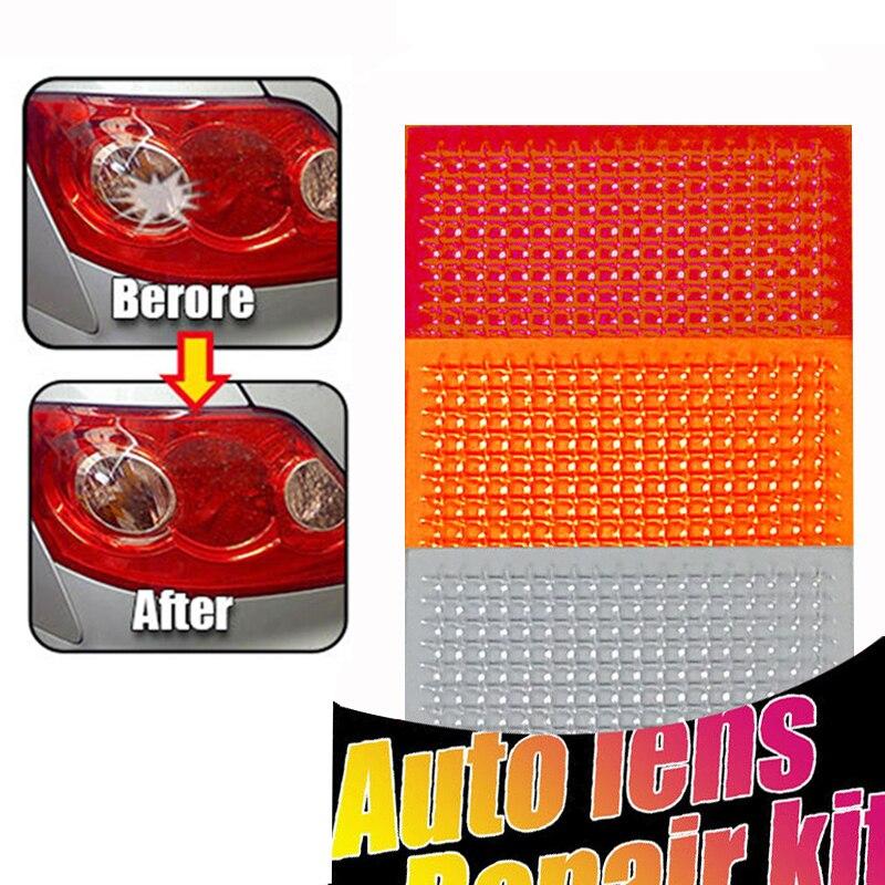 DIY ızgara desen oto Lens tamir kiti hızlı Fix kırık kuyruk işık pürüzsüz yüzey cilası kırmızı Amber şeffaf renk