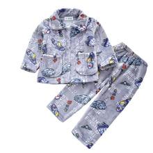 Warmed for winter Pijamas Kids Flannel Pijama set Baby boy girl Cartoon printing Pajamas Children sleepwear Infant pajamas h kong baby children s pajamas set boy cartoon pajamas girl cute family 100