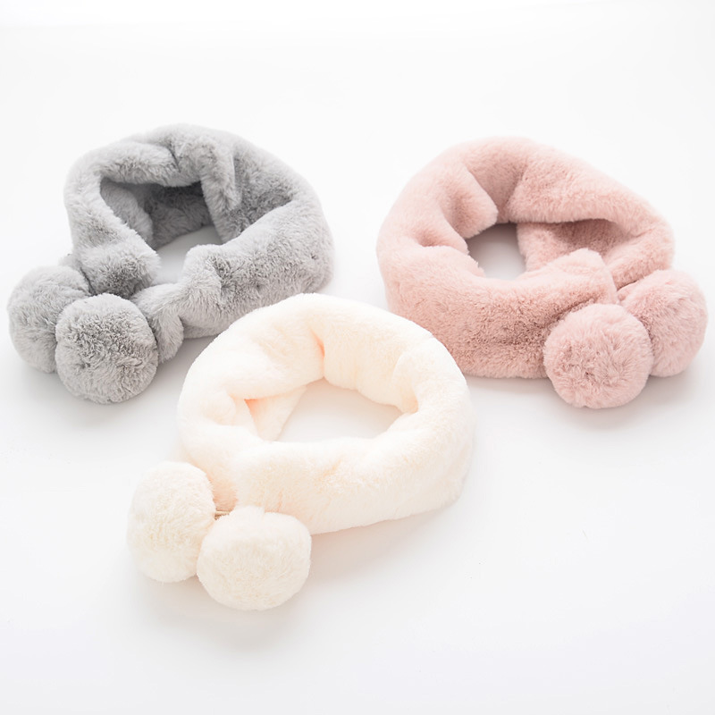 PPXX 2019 Winter Kid Fur Scarf Children Scarves Faux Rabbit Fur Neck Warmer Baby Scarf Fur Ball Girls Boys Bufanda