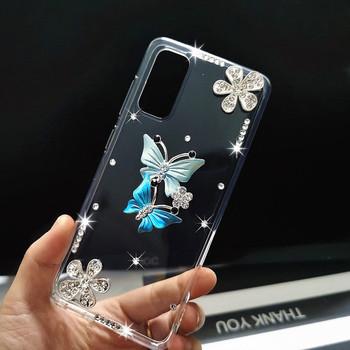 Rhinestone silikonowe pokrywa dla Samsung galaxy S20 FE 5G S20 wentylator edycja A21S A01 A10 A11 A21 A31 A41 A51 A71 A50 A70 etui na telefon tanie i dobre opinie udapakoo CN (pochodzenie) Aneks Skrzynki 3D Ballet butterfly peacock Rhinestone phone Case Soft silicone Cover GALAXY serii