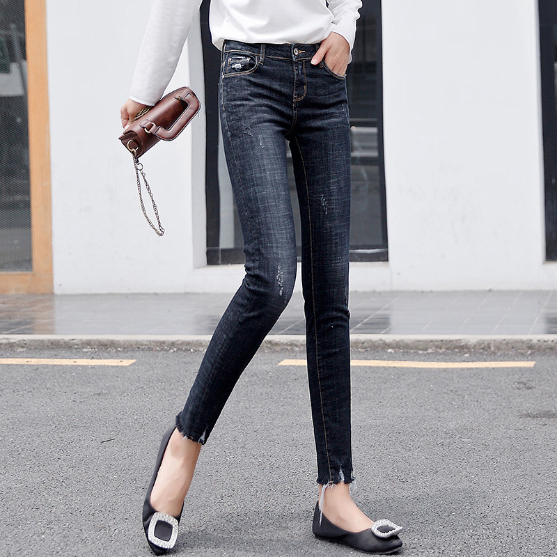 2018 Autumn And Winter New Style Jeans WOMEN'S Ninth Pants Korean-style High-waisted Skinny Pants High Elastic Slimming