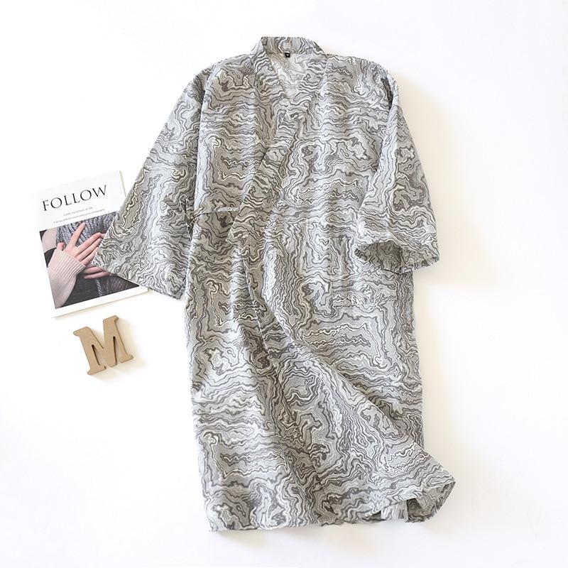 New Kimono 100% Cotton Gauze Nightgown Retro Mens Bathrobe Water Ripple Printing V-Neck Long Nightdress Men Loose Sleepwear