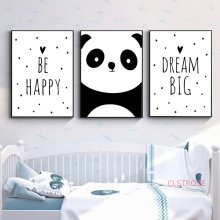 Nordic Kids Decoration Picture Baby Nursery Wall Art Canvas Painting Animal Panda Be Happy Bedroom Poster And Prints No Frame(China)