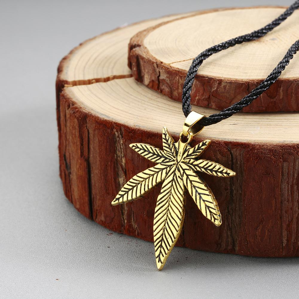 QIAMNI Trendy Antique Bronze Maple Leaf Pendant Necklace Jewelry Women Men Gift Big <font><b>Cannabiss</b></font> Hemp Leaf Necklace <font><b>Leaves</b></font> Colier image
