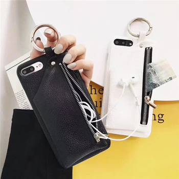 Fashion Luxury PU Leather Case with Zipper Pocket Phone case For iPhone 11 Pro XS MAX XR 7 8 6 6S Plus with Pocket holder Cover 1