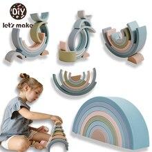 Bambino grande arcobaleno impilatore giocattolo in Silicone Montessori giocattolo educativo bambini per bambini di 2 anni blocchi creativi arcobaleno