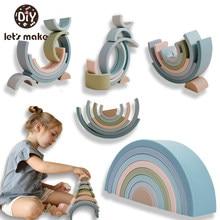 Baby Große Regenbogen Stacker Silikon Spielzeug Montessori Pädagogisches Spielzeug Kinder Für 2 Jahre alten Kinder Kreative Regenbogen Bausteine