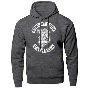 Hoodies Men Odin Vikings Sweatshirts Son Of Odin Hooded Sweatshirt Sons Of VikingWinter Autumn Gone to Valhalla Sportswear 1