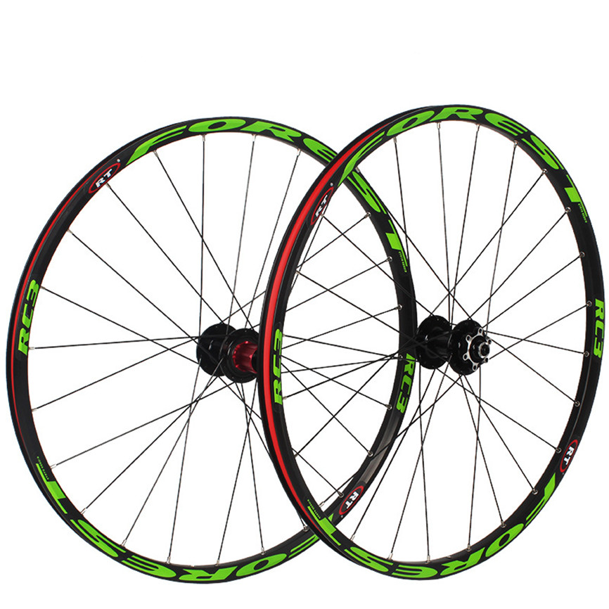 RC3 MTB Mountain Bike 26/27.5inch Wheelset Disc Brake Front 2 Rear <font><b>5</b></font> Sealed Bearing 120Sound Rim QR Thru-axis Round <font><b>Spoke</b></font> <font><b>Wheels</b></font> image