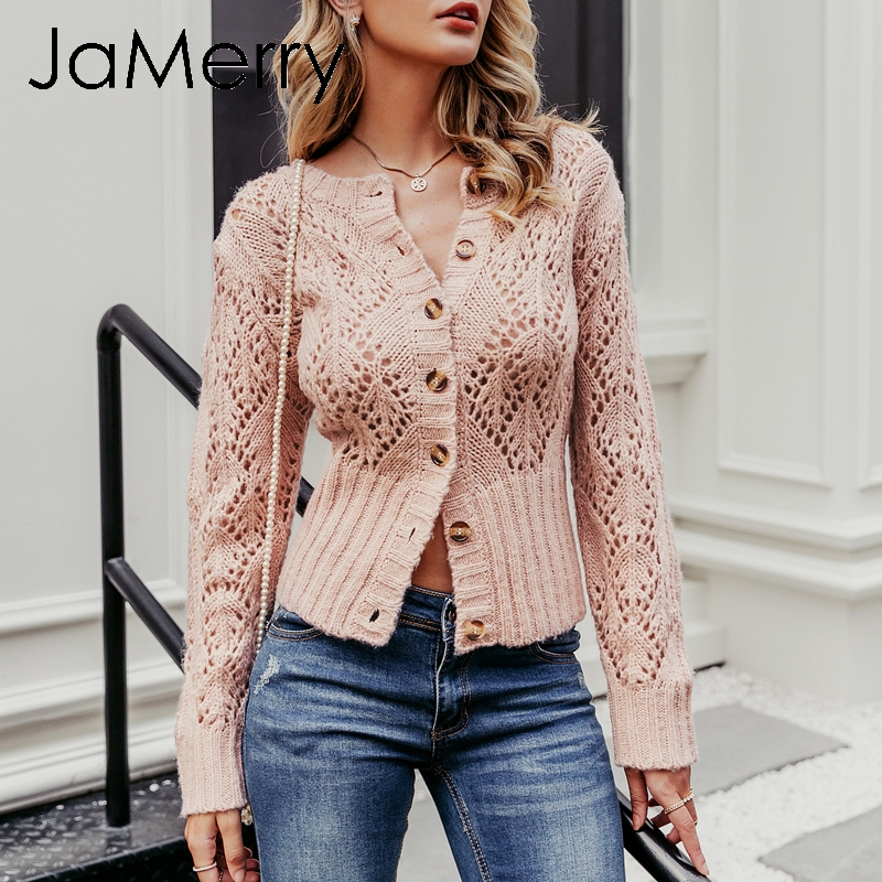 JaMerry Vintage Hollow Out Knitted Cardigan Sweater Women Winter Lady Sweater Long Sleeve High Waist Female Outwear Cardigan