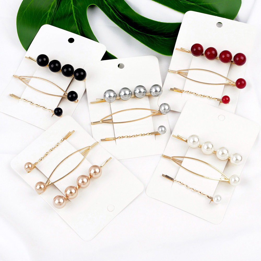 3 Pcs Girls Fashion Simple Crown Pearl Hair Clip Pearl Hairpins Sweet Barrette Hair Clip Women Headwear Cute Hair Accessories