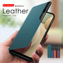 Funda de cuero con tapa Smart View para Samsung Galaxy A12, protector de despertador automático, para Samsung A12 A 12 S125F