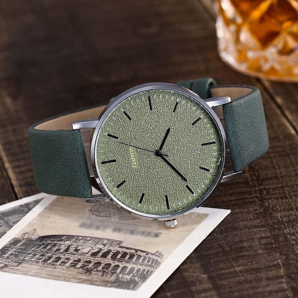 Newly VANSVAR Unisex Men Women Matte Dial Wristwatch Leather Band Quartz Wrist Watch  FIF66