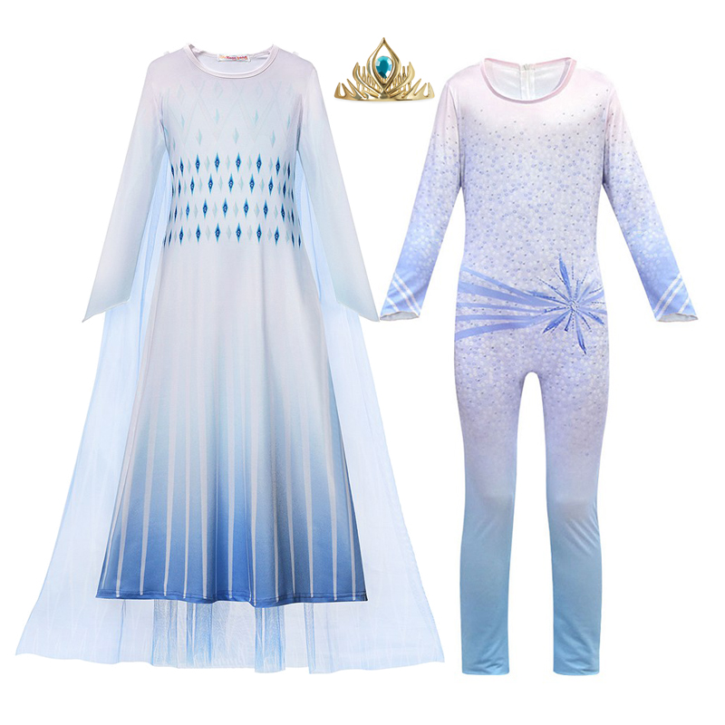 MUABABY Girls Snow Queen 2 Dress Up Clothes Printed Elsa Princess Costume With Tulle Cloak Elza Jumpsuit Halloween Party Gown