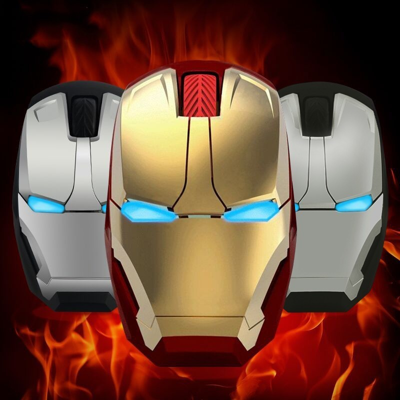 Silent Wireless Computer USB Mouse Iron Man Ergonomic Optical 3D Mause Noiseless Portable Marvel Cartoon Office Mice For Boy Kid