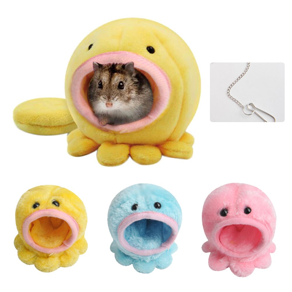 Portable Small Pet Sleeping House Cute Octopus Small Pet House Soft Hamster Hanging Bed Small Animals Cotton Nest 9