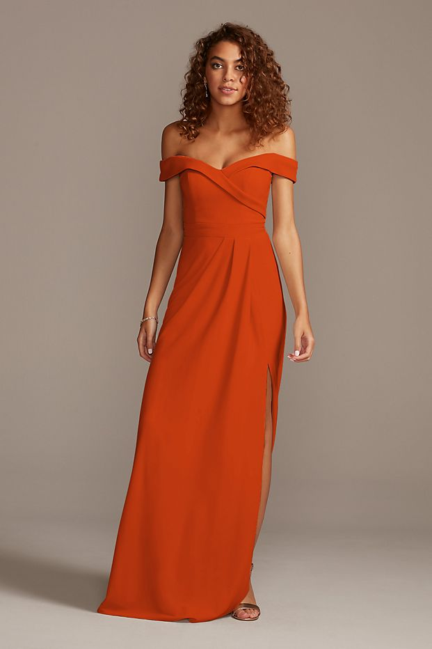 tailor shop custom made Off-the-Shoulder Crepe Bridesmaid Dress orange navy ivory color bridesmaid dress