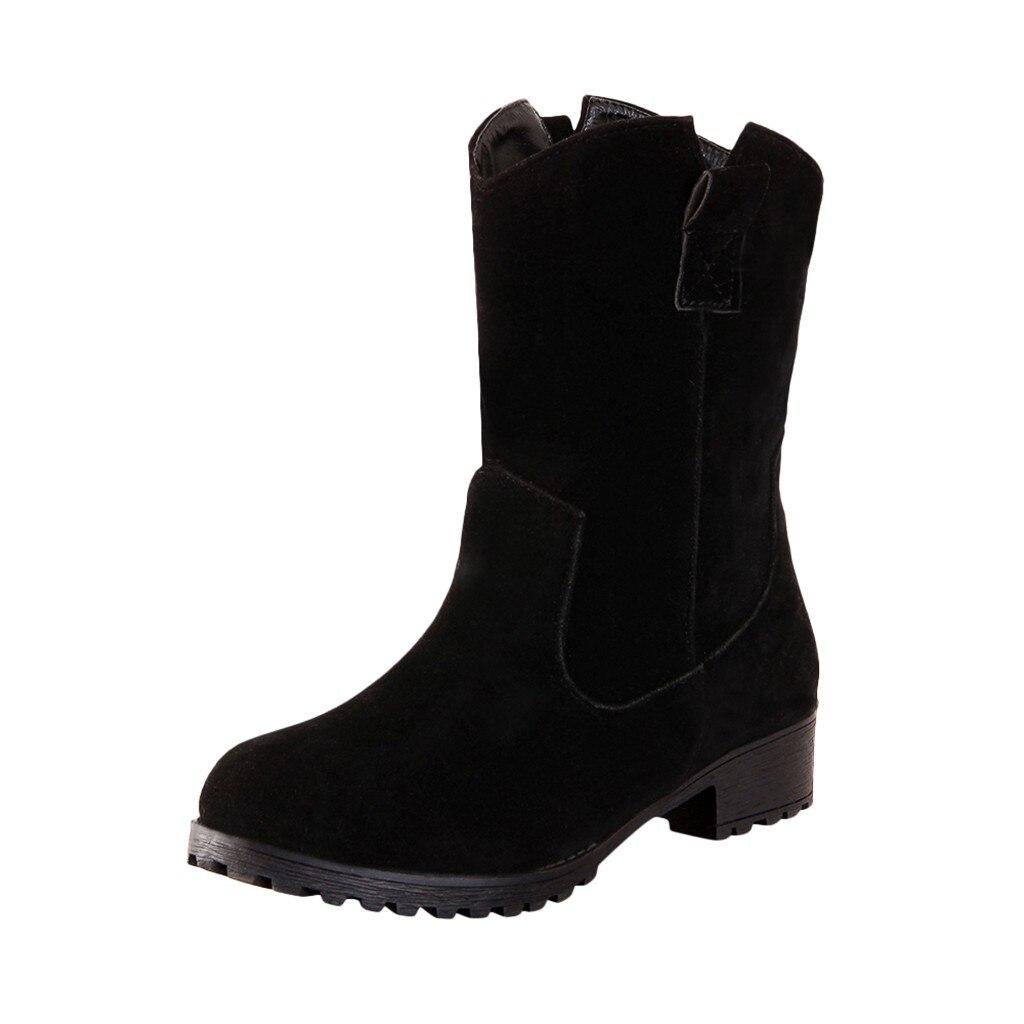 KANCOOLD/Женские Ботинки martin; ботинки Осень-зима; классические зимние ботильоны; зимняя замшевая теплая женская обувь из флока с мехом и плюшем; Размеры 35-43 - Цвет: BK