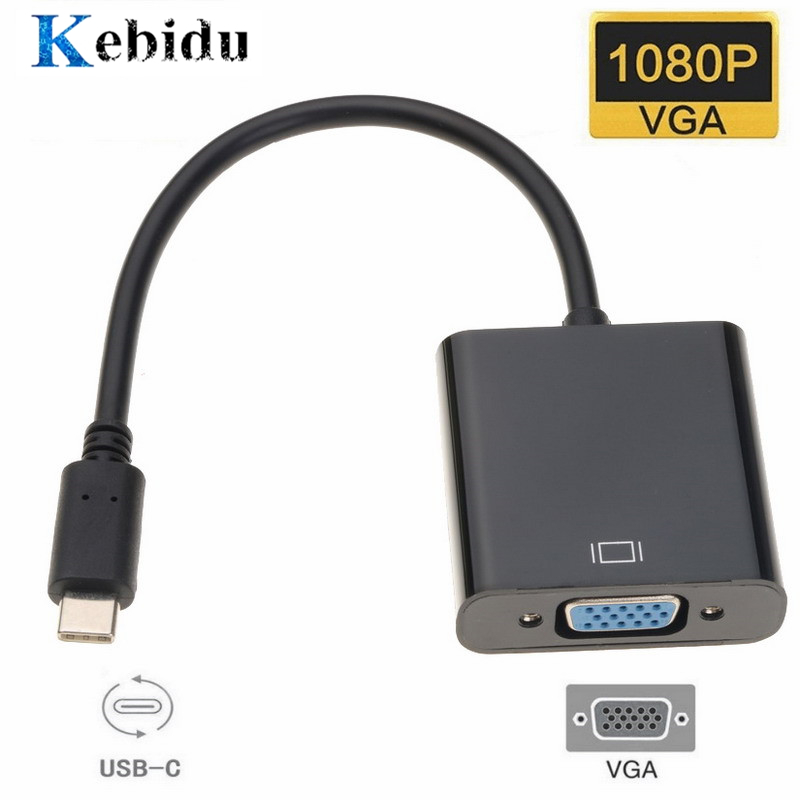 Kebidu Тип C к женскому VGA Кабель-адаптер USBC USB 3,1 к VGA адаптер для Macbook 12 дюймов Chromebook Pixel Lumia 950XL Лидер продаж