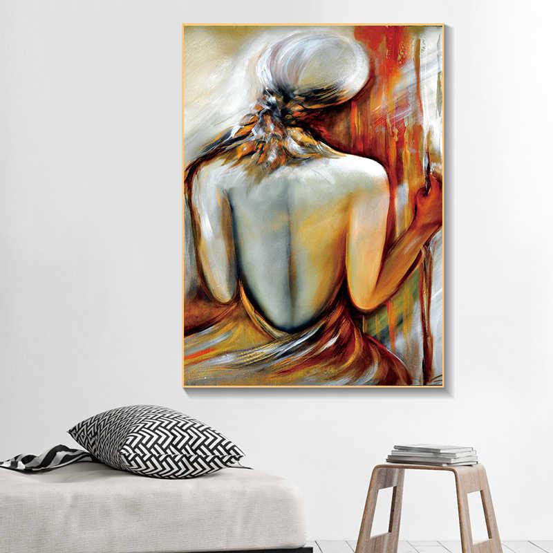 Personaggi XINQI Donna Sexy Bare Back Body della Pittura A Olio Astratta Su Tela di Canapa poster e stampe di Arte Della Parete Immagine Moderna Complementi Arredo Casa