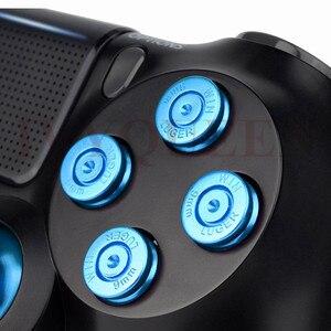 Image 4 - Ivyueen Dành Cho PlayStation 4 PS4 Pro Slim Bộ Điều Khiển Xanh Dương Nhôm Analog Ngón Tay Cái Gậy + Kim Loại Dpad Đạn 9 Mm Nút mod Kit
