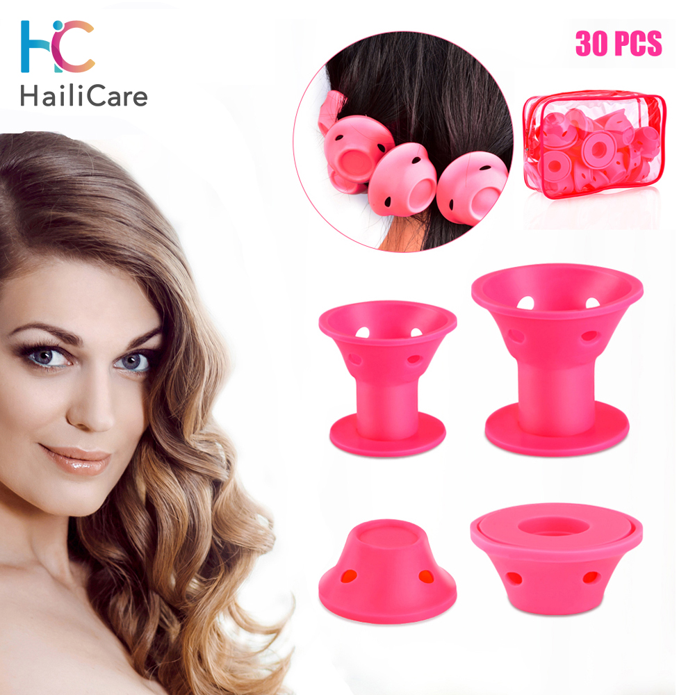 10/30pcs Silicone Hair Curler Soft Rubber Magic Hair Rollers Salon Hair Styling Tool Sleep Hair Rollers Curl Tools Hairstyle