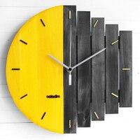 Amarelo slient xilofone relógio de parede de madeira design moderno do vintage rústico gasto relógio de arte tranquila decoração casa
