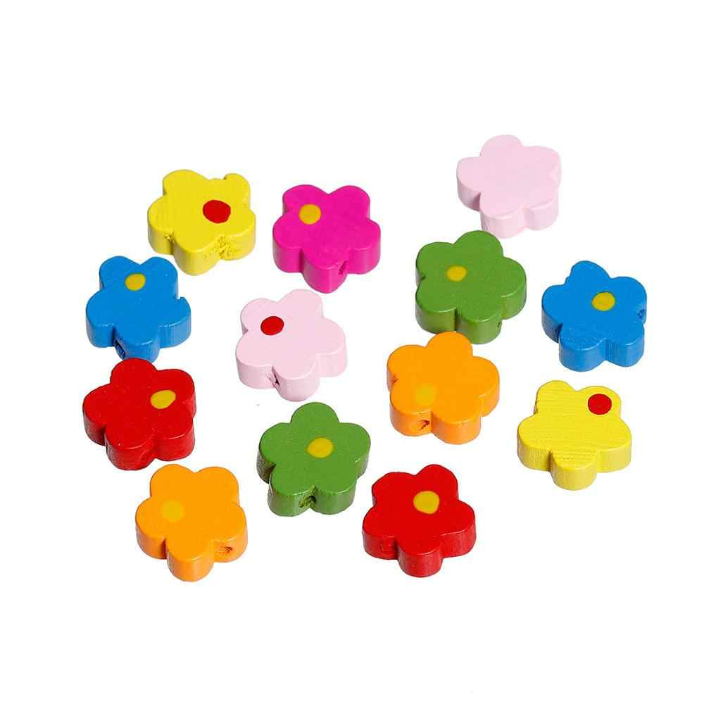 DoreenBeads แบบสุ่ม Multicolor น่ารักดอกไม้ลูกปัดไม้ 15x15 มม.,ขายต่อแพ็คเก็ต 15