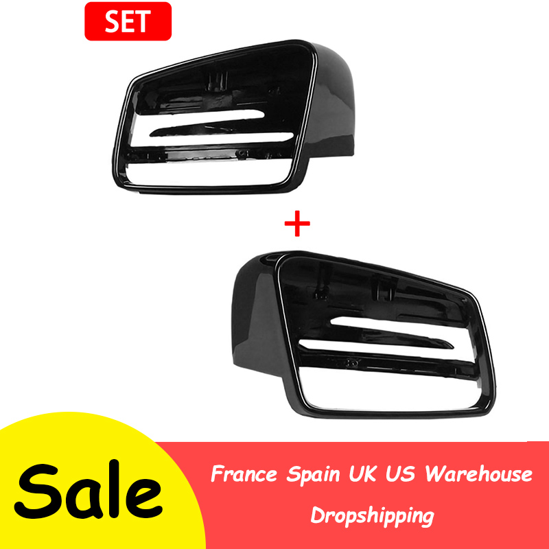 For Mercedes-Benz C-Class W176 W246 W204 W212 W221 CLS X156 C117 Car Left/Right Wing Mirror Rearview Black Case Cover Housing
