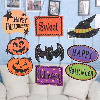 Halloween fiesta creativa accesorios de papel Ventana de puerta calabaza fantasma calavera tiras colgantes decoración de Halloween etiqueta colgante