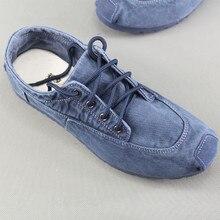 Man Casual Shoes Loafers Soft Canvas Denim Lace Up Comfortable Men Spring Summer Vintage Ethnic Shoe Moccasins