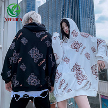 2019 Autumn Winter Dropshipping Bear Print Hoodie Men Couple Harajuku Retro Leisure Youth Trend Design Sweatshirt